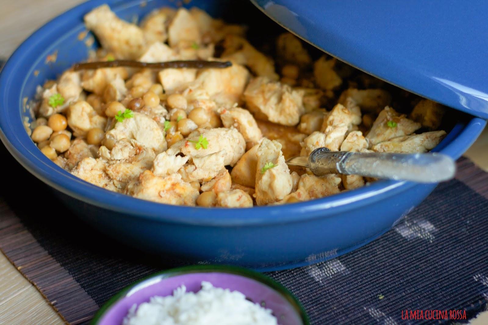 Tagine speziata di pollo, ceci e vaniglia