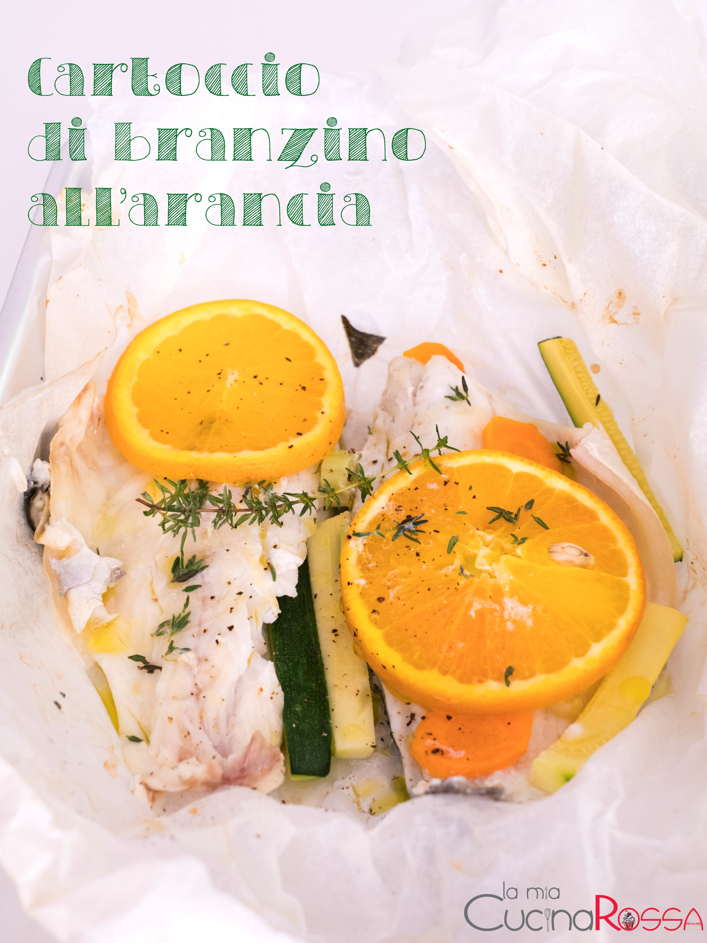 cartoccio di branzino all'arancia